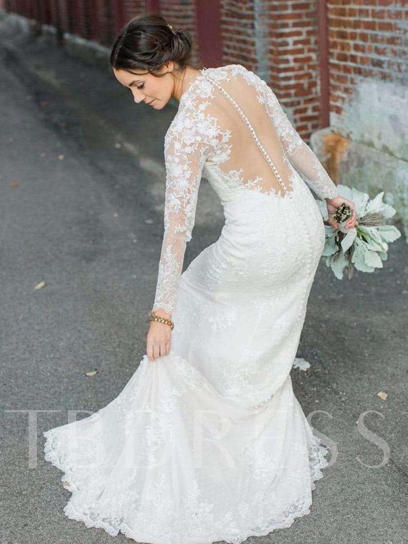 Button Sheer Back Sheath Long Sleeves Lace Wedding Dress