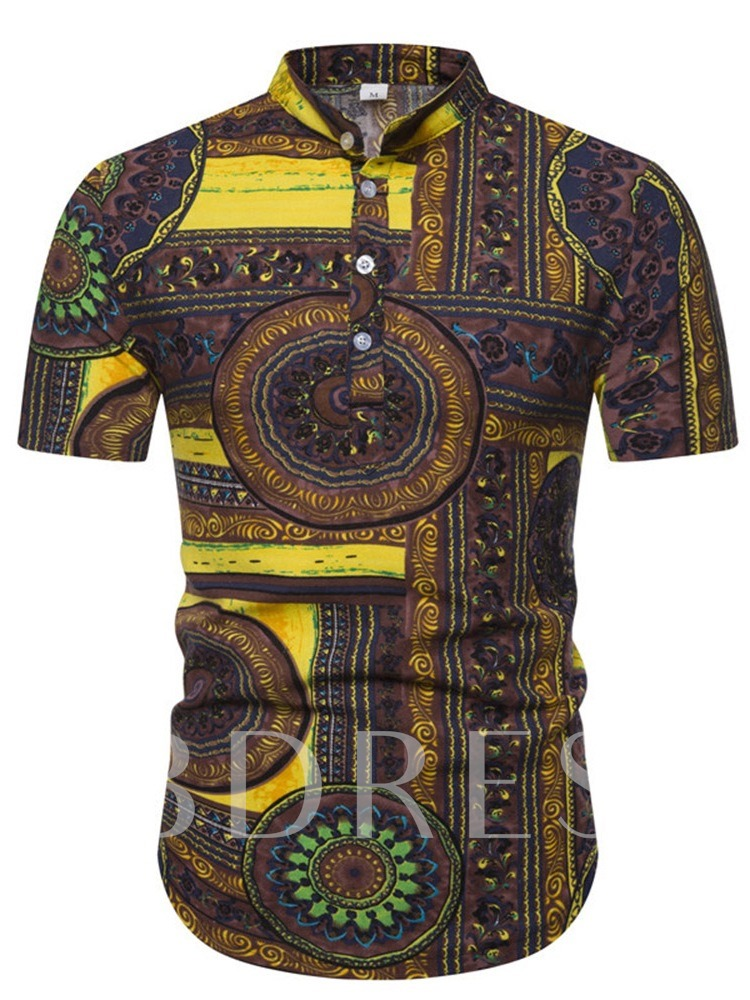 Button Stand Collar Casual Color Block Print African Fashion Stylish Summer Short Sleeves Men's Shirt