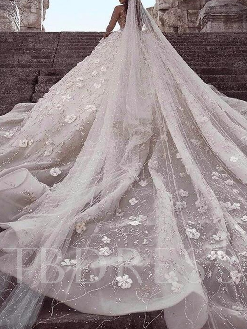 Long Sleeves 3D Flowers Beading Luxurious Wedding Dress
