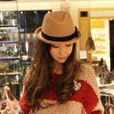 Fedora Hat Korean Bowknot Color Block Hats