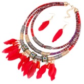 Feather E-Plating Ethnic Holiday Jewelry Sets