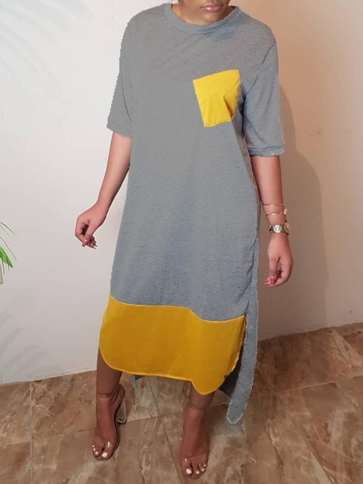 Round Neck Patchwork Half Sleeve Pullover Women's Maxi Dress
