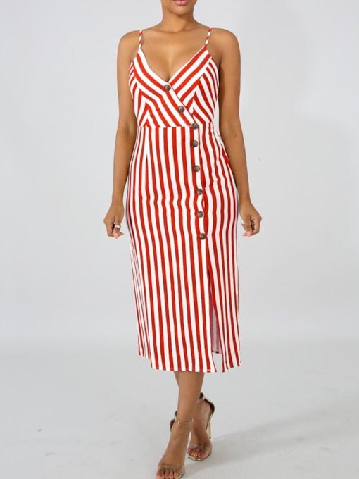 V-Neck Mid-Calf Split Sleeveless A-Line Women's Maxi Dress