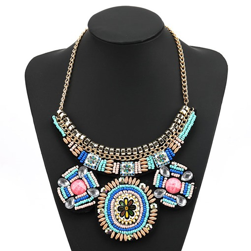 Pendant Necklace Bohemian Color Block Female Necklaces