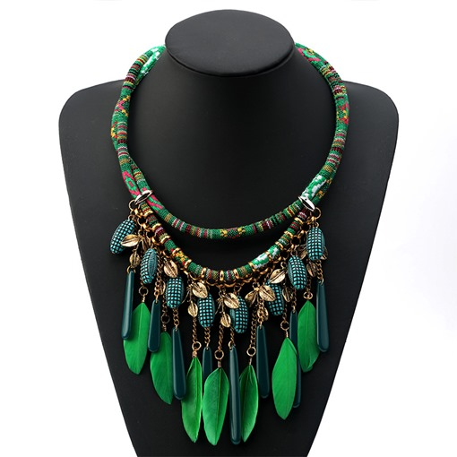 Ethnic Feather Shape Acrylic Chain Pendant Necklace