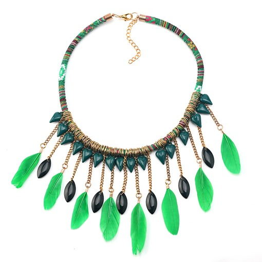 Pendant Necklace Ethnic Feather Female Necklaces