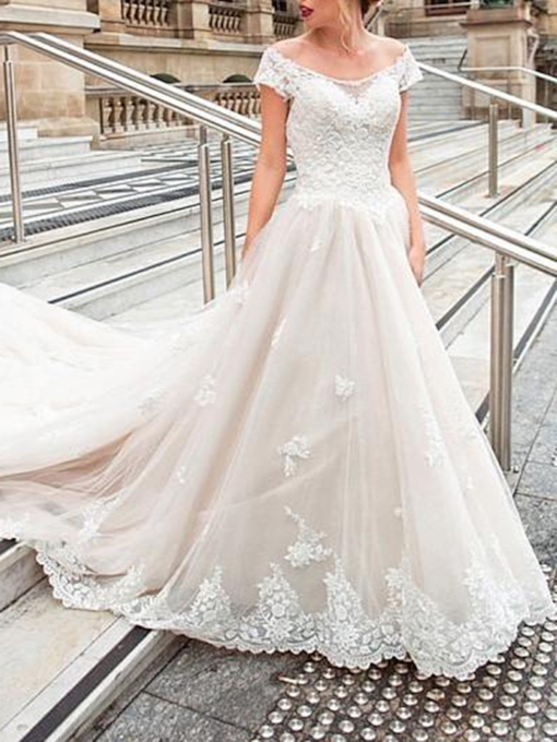 A-Line Appliques Off-The-Shoulder Church Wedding Dress 2019