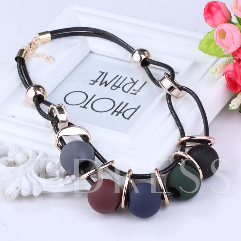 Color Block Pendant Necklace Woven Female Necklaces