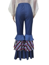 Stripe Falbala Bellbottoms Slim Women's Jeans