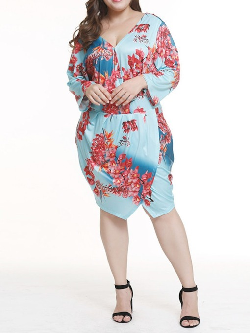 V-Neck Print Long Sleeve Mid Waist Women's Day Dress