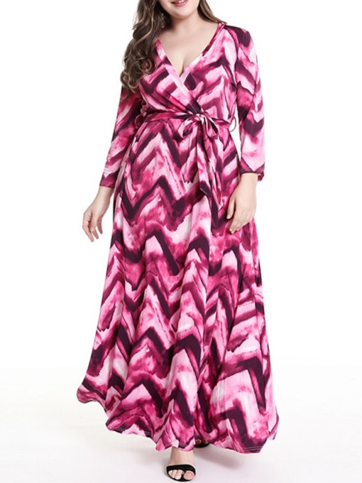 Plus Size Print Nine Points Sleeve V-Neck Ankle-Length Women's Dress