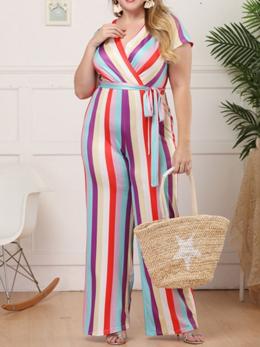 Stripe Full Length Fashion Print Straight Women's Jumpsuit