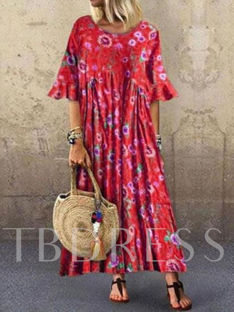 Pleated Round Neck Three-Quarter Sleeve Women's Maxi Dress