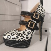Rhinestone Round Toe Buckle Leopard Women's Pumps