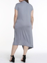 Plus Size Lace-Up Short Sleeve V-Neck Asymmetrical Women's Dress
