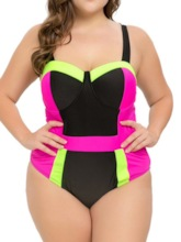 Patchwork Sexy Plus Size One Piece Color Block Women's Swimwear