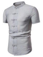 Casual Fashion Stand Collar Plain Single-Breasted Short Sleeves Men's Shirt