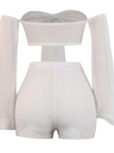 Shorts Western Lace-Up Plain Pullover Women's Two Piece Sets