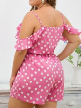 Plus Size Heart Shaped Lace-Up Plus Size Shorts High Waist Women's Romper