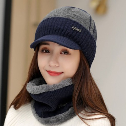 Knitted Hat Woolen Yarn Patchwork Color Block Hats