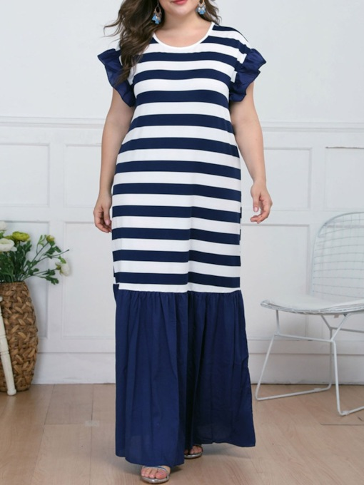 Plus Size Print Short Sleeve Round Neck Stripe Women's Dress