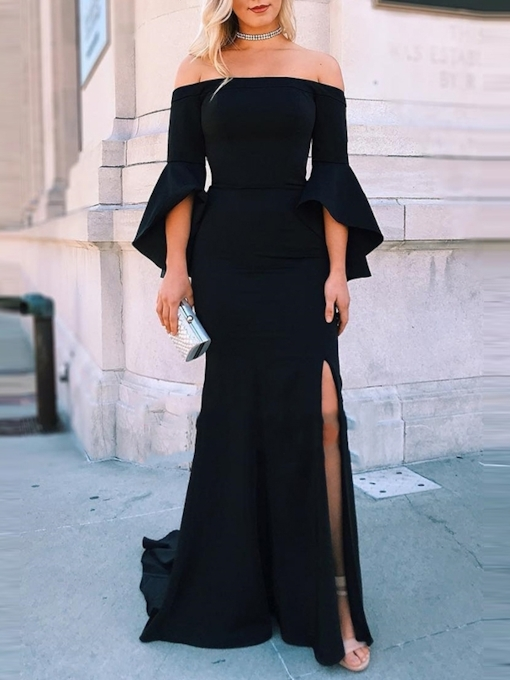 Sheath Off-The-Shoulder Split-Front Black Evening Dress 2019