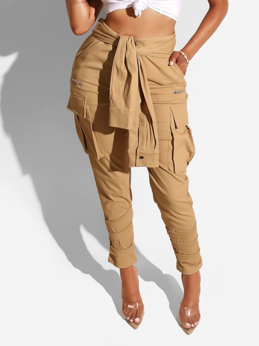 Pleated Plain Slim Ankle Length Women's Casual Pants