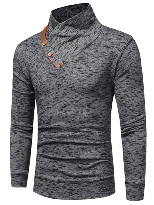 Thin Button Color Block Pullover Spring Men's Hoodies