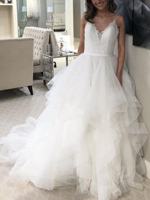 Spaghetti Straps Tiered Lace Wedding Dress