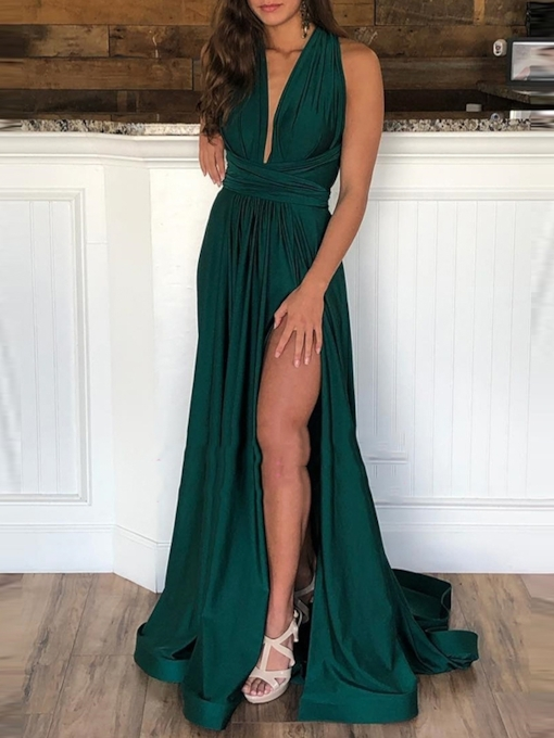 A-Line Floor-Length Split-Front Sweep Train Evening Dress 2019