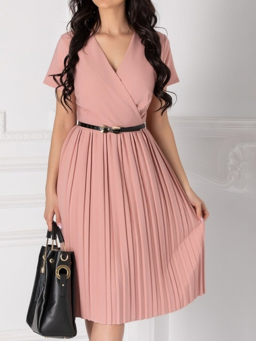 Mid-Calf V-Neck Pleated Short Sleeve Plain Women's Day Dress