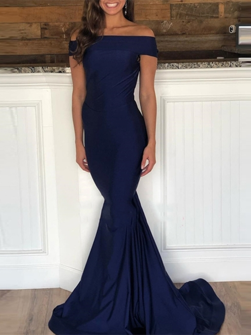 Off-The-Shoulder Court Train Trumpet Sleeveless Evening Dress