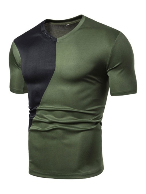 Color Block Casual Short Sleeves V-Neck Button Slim Men's T-shirt