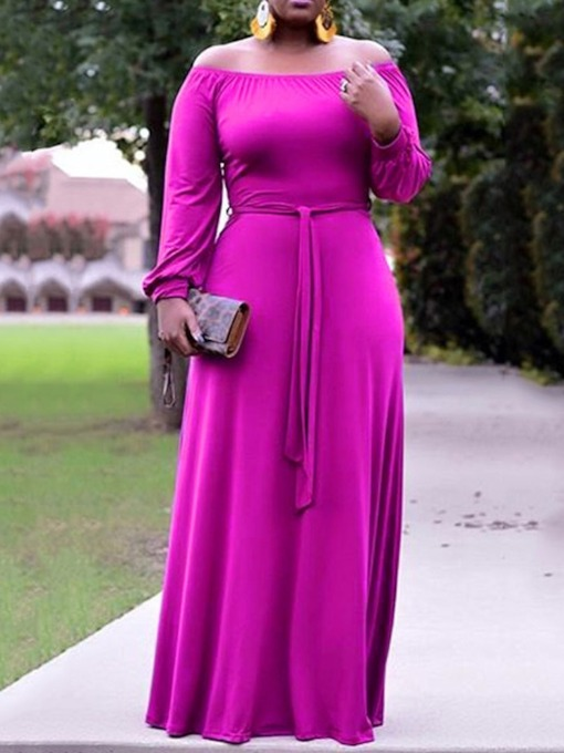 Off Shoulder Long Sleeve Pleated Pullover Women's Maxi Dress