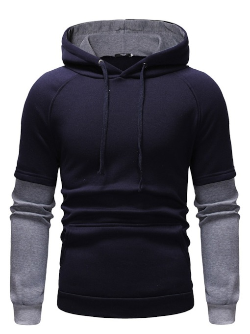 Thread Fleece Pullover Color Block Casual Men's Hoodies