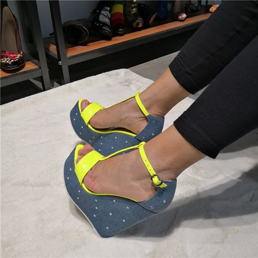 Buckle Open Toe Neon Women's Wedge Sandals