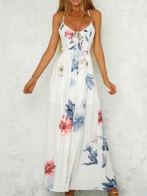 Lace-Up Ankle-Length V-Neck Sleeveless A-Line Women's Maxi Dress