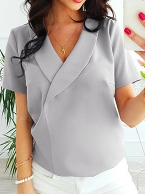 Regular V-Neck Plain Short Sleeve Women's Blouse