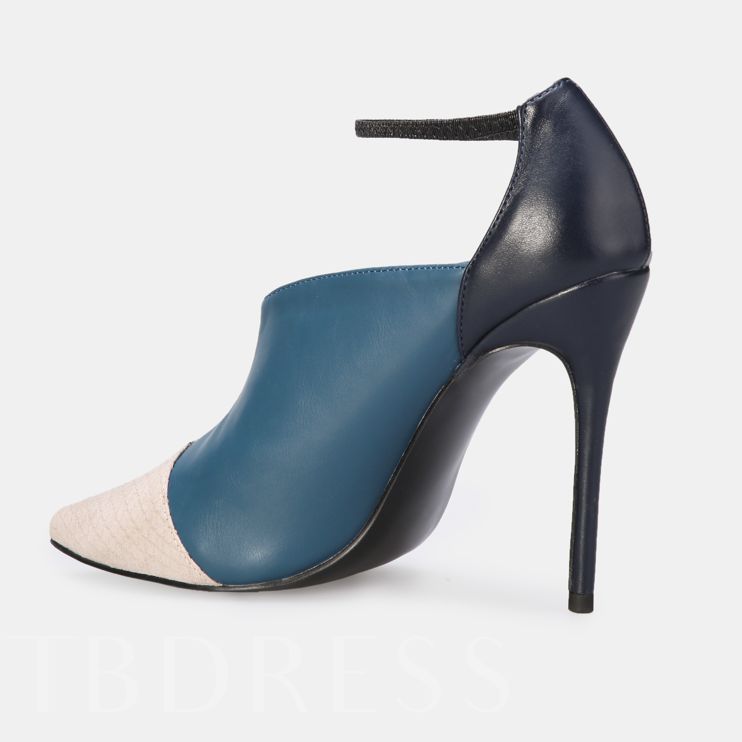 Pointed Toe Stiletto Heel Line-Style Buckle Color Block Pumps