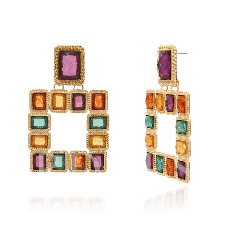 Color Block Alloy European Anniversary Earrings