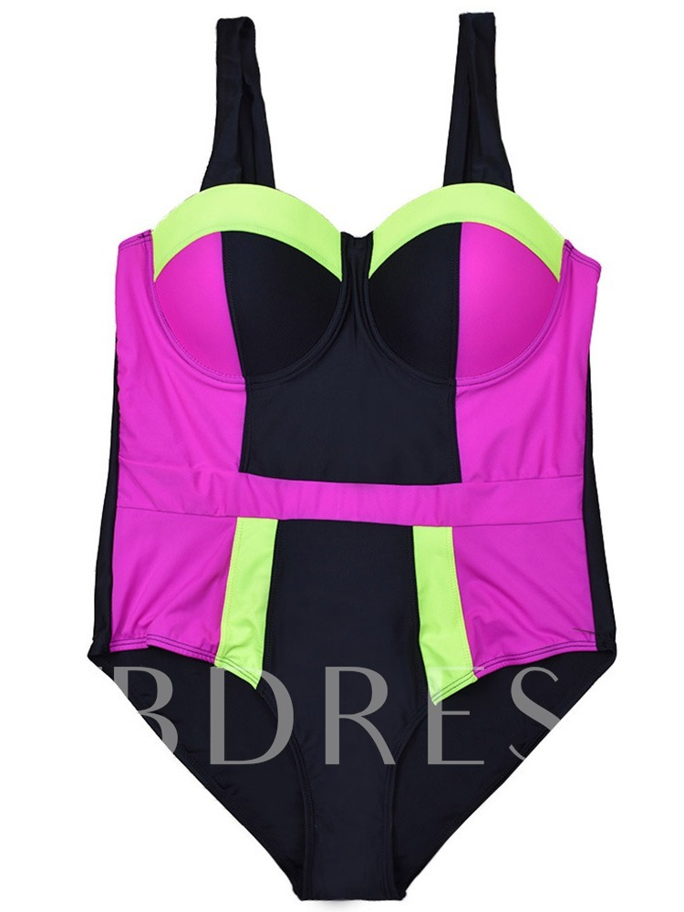 Plus Size Patchwork Sexy One Piece Color Block Women's Swimwear