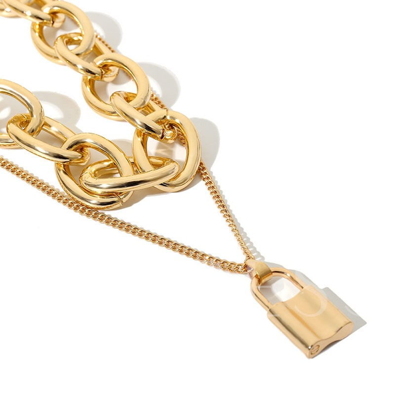 Vintage Golden Multi-Layer Pendant Necklace