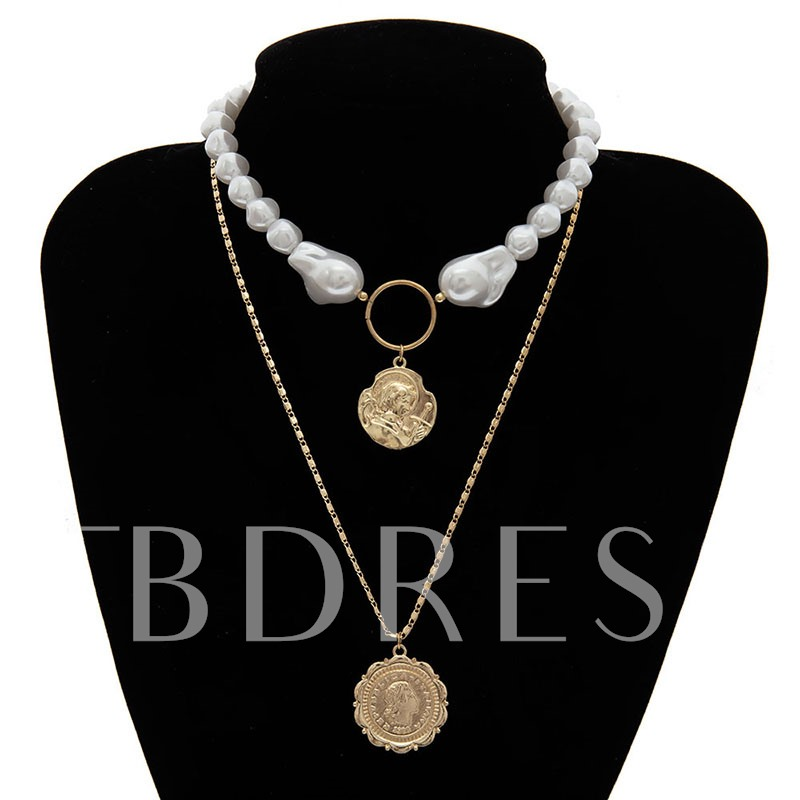 Pearl Inlaid E-Plating Pendant Vintage Necklaces