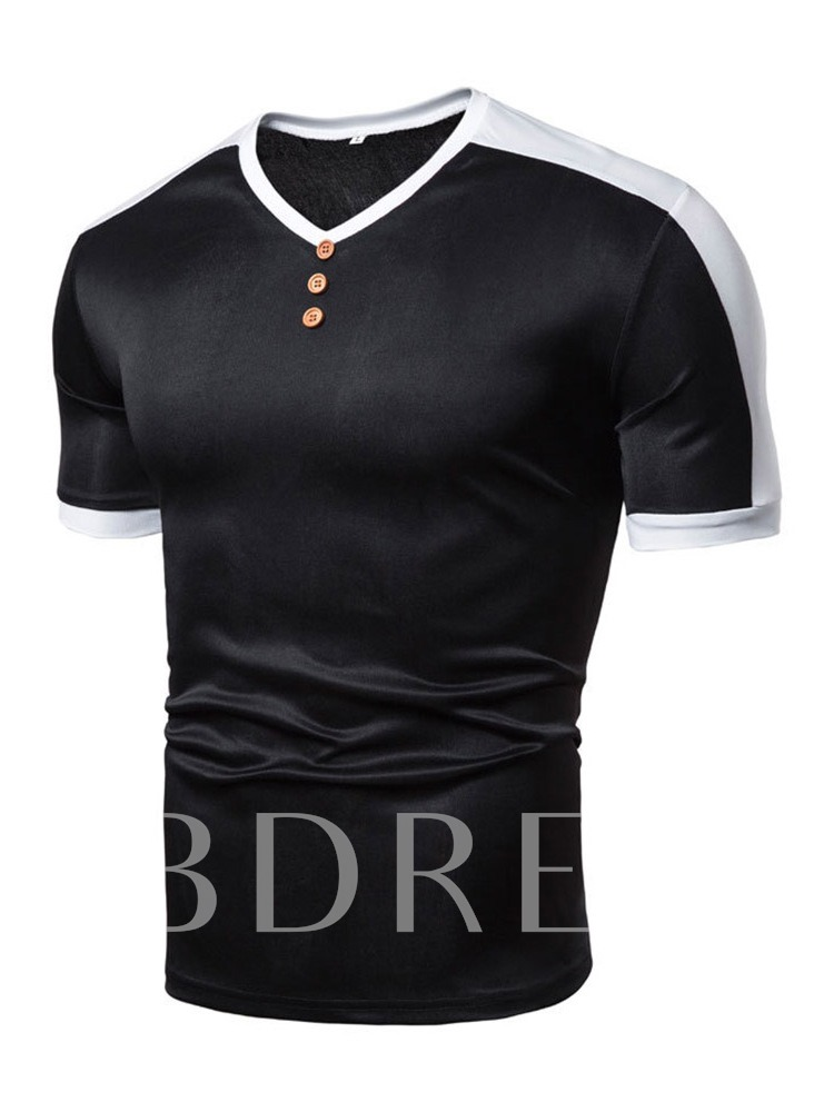Breathable Color Block Short Sleeves V-Neck Casual Button Loose Men's T-shirt