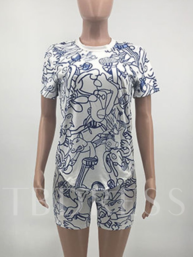 Print T-Shirt Cartoon Casual Pullover Women's Two Piece Sets