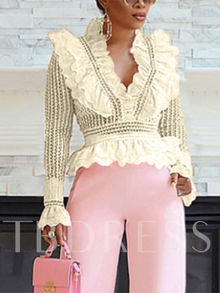 African Fashion V-Neck Ruffles Lace Plain Hollow Women's Blouse