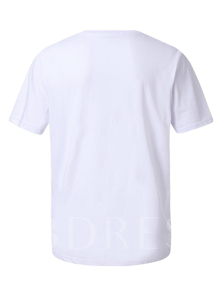 Casual Fashion Letter Print Round Neck Loose Short Sleeves Men's T-shirt