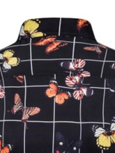 Fashion Animal Butterfly Print Color Block Lapel Single-Breasted Long Sleeves Men's Shirt