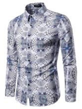 Fashion Design High Quality Lapel Color Block Button Single-Breasted Long Sleeves Men's Shirt