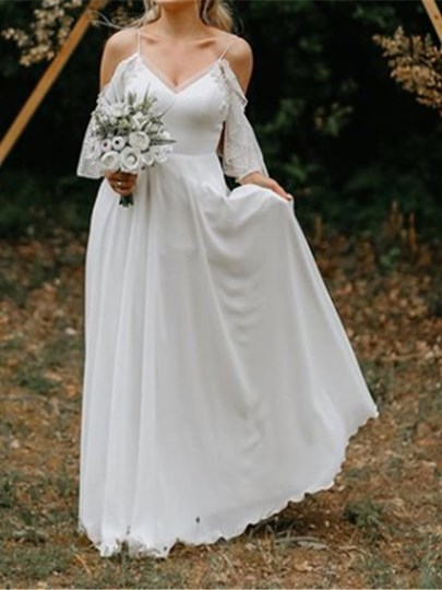 Half Sleeves Appliques Cold Shoulder Beach Wedding Dress 2019 Half Sleeves Appliques Cold Shoulder Beach Wedding Dress 2019